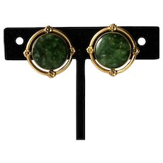 Art Deco 14K Gold Maw Sit Sit Jade Earrings