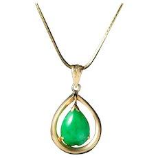 Vintage 14k Gold Jadeite Pendant Necklace, T.Y. LEE & Company