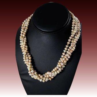 "Antique 14k Gold Multi Strand ""Rosebud"" Pearl Necklace"