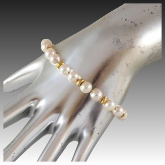 """Vintage 14k Solid Yellow Gold and Cultured Pearl Bracelet, 7 .25"""" Long"""