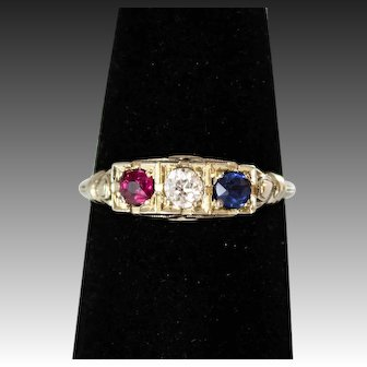 Antique 18k White Gold, Red White And Blue Gemstone,Wedding Ring with Ruby, Diamond & Sapphire Gems