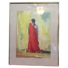 Matted, framed , authentic original piece of art