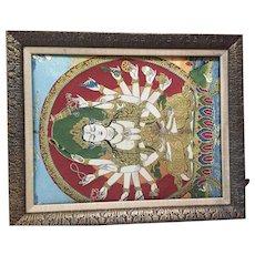Framed tapestry of Lakshmi, Hindu goddess..