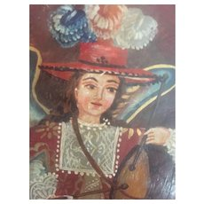 Peruvian oil painting on tin..