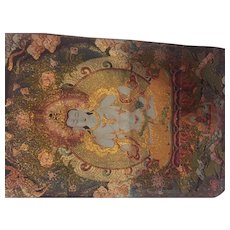 Beautifully woven tapestry accented with gold clad threads