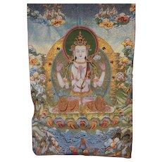 Blended silk tapestry, 4 Arms Chenrezig