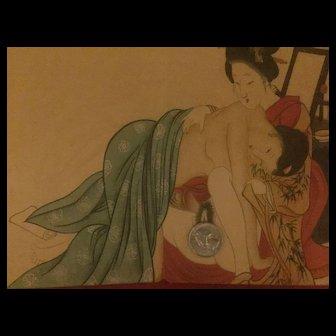 Japanese erotic block print