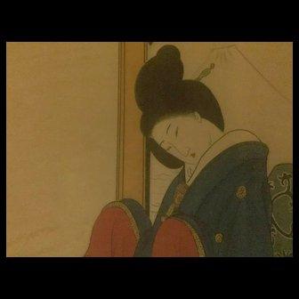 Authentic, vintage original Japanese watercolor..