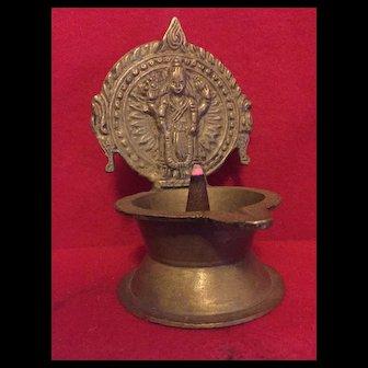 Authentic vintage Hindu oil lamp