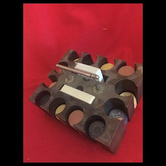 1880's  Clay Poker Chips with original caddy