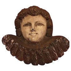 Vintage, Italian hand carved angel bust with amazing ware due to its age