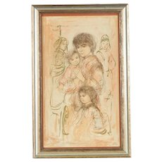 "Edna Hibel - Rare Limited Edition Lithograph ""Valerie and Children"" - Framed"