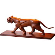 Art Deco Style - 1930's Large Carved Wooden Panther - Himke - Solid Walnut