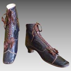 1867 (dated) PINET Leather Lace Up Boots, Paris, antique boots, Victorian shoes, antique shoes