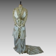 1912 Wedding Gown with Wax Flowers, antique dress, antique gown, Edwardian Dress, bridal gown, wedding dress
