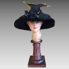 1912 Winter Hat, Titanic Era Hat, antique hat, Edwardian Hat, antiker Hut