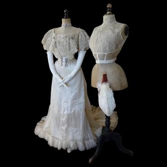 1903 BUZENET Ball Gown, Paris, Antique Gown, Edwardian dress, antique dress, antikes Kleid