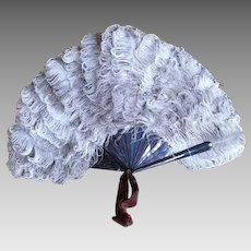 1896 CONRAD SAUERWALD Antique Ostrich Feather Fan, Berlin, Germany, Victorian Fan