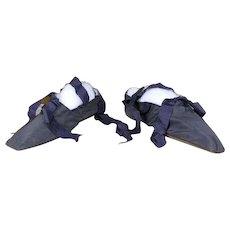 1848 Romantic Period Silk Shoes, antique shoes, antique slippers, Biedermeier Shoes