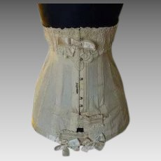 1910 Edwardian Corset, three bows, antique Corset, antikes Korsett