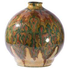 Unusual Gouda Mid-Century Modern Pottery Vase, Irridescent Glaze Unique