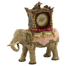 Bohemian Faience Elephant inset with Ansonia Mantle Clock