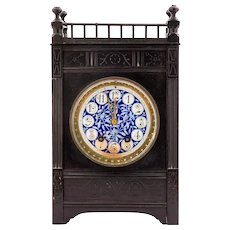 English Aesthetic Movement Ebonized Wood and Pottery Mantle Clock