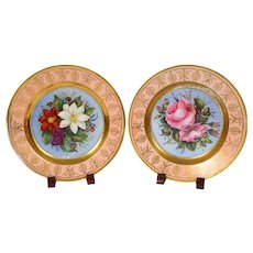 Rare English Porcelain Botanical Plates Painted in London and Signed 1821