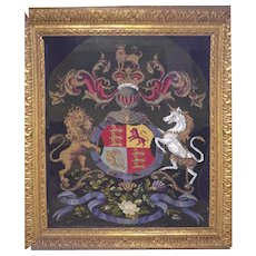 Victorian Silk and Wool Needlework Royal Coat-of-Arms in a carved Gilt Wood Frame