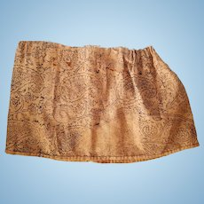 """8"""" tall x 29""""  Antique 1890s-1900s cloth doll Skirt, hand-sewn, looks like hand-printed fabric."""