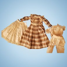 "13 1/2"" long Antique plaid doll dress with slip, camisole and pantaloons"