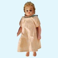 "6"" glass-eyed Wax shoulder head Antique doll on 5-piece Papier mache body"