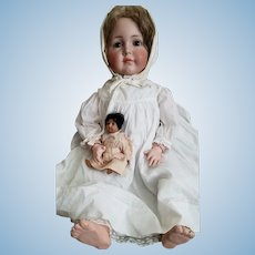 """26"""" tall antique Mein Liebling 117, Beautiful 2 pc baby gown & slip, Incredible deep brown eyes."""