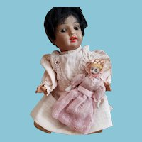 "6 1/2"" S&H antique bisque head Hanna doll, original 5 pc mache body, antique dress"