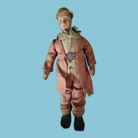 """8.5"""" Circa 1920 Cloth clown with molded stockinette face, orig. clothes, big mache feet."""
