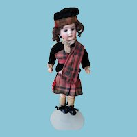 "10.5"" Cabinet sized, German bisque sockethead doll in Tartan, Mark: Germany, K 1"