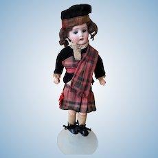 """10.5"""" Cabinet sized, German bisque sockethead doll in Tartan, Mark: Germany, K 1"""