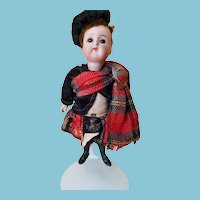 "Adorable 6 1/4"" K*R bisque shoulderhead German doll in Tartan"