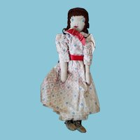 "11 1/2"" Edith Flack Ackley Style country style cloth pattern doll"