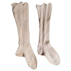 """11 1/2"""" long antique child's Stockings with buttons to attach to Clothing"""