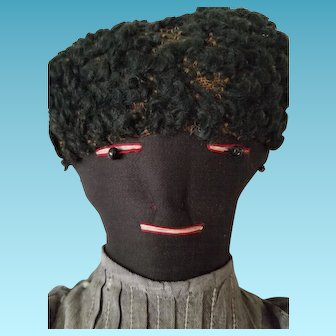 """17"""" Black bottle doll, antique 2 piece outfit, Lambswool wig, stitched facial features"""