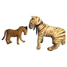 Pair of antique & vintage Zebra Toys