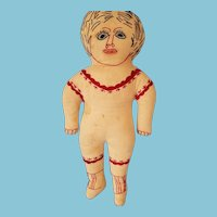"""17"""" Early 1900s Antique cloth Embroidered doll"""