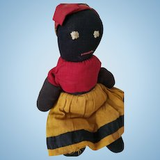 "11"" Antique Black stocking doll, simple primitive stitched eyes & mouth, turkey red blouse, mustard yellow skirt"