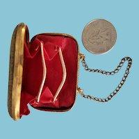 "2"" Antique brass doll purse"