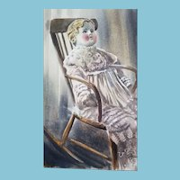 """Antique 20x14"""" china doll watercolor"""