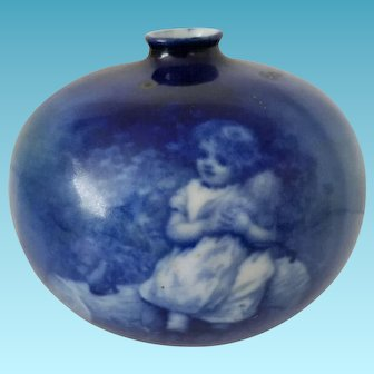 """Beautiful Royal Doulton """"babes in the woods"""" 1920s series vase. Features Little girl with her doll."""