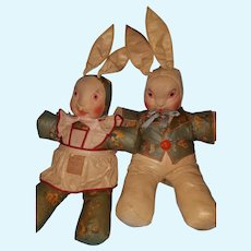 "1930s oilcloth Pr. Mr. & Mrs. Rabbit 16"" tall"