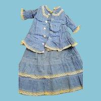 1860s Blue fashion,2 pc. antique doll set & 2 pc. undies