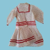 Hand-Stitched Vintage red & cream calico doll dress